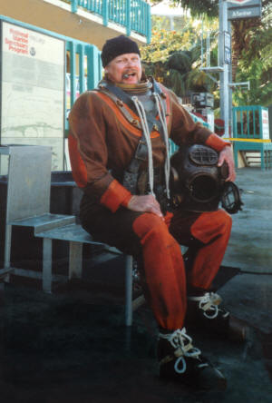 Bart Bjorkman of EnviroDive Services, dressed in antique hardhat diving equipment